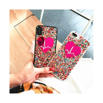 Shiny Sequin Decor Heart Print  Phone Case for iPhone