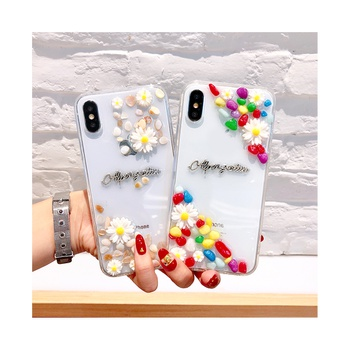 Creative Transparent Stone Flower Decor Phone Case for iPhone