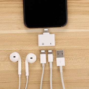 Dual Ports Mini Charging Audio Adapter for iPhone