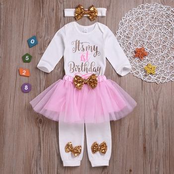 0ccd668efe Baby Girl's Birthday Letter Print Bodysuit, Tulle Skirt, Bow Socks and  Headband