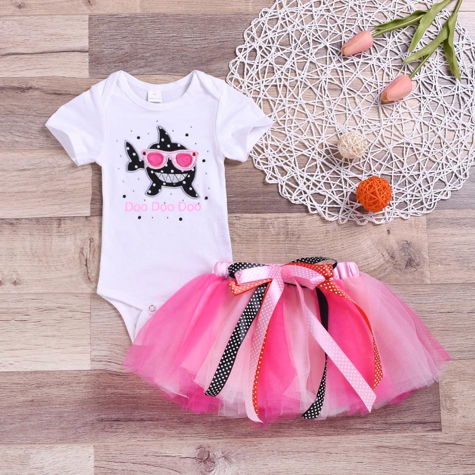 adeadf675e Toddler bebé   mono del tiburón muchacha del niño y falda de tul de colores  at PatPat.com