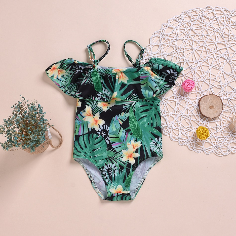 3d55a6528b Baby/ Toddler Girl's Flower and Leaf Print Flounced Collar Strap Swimwear
