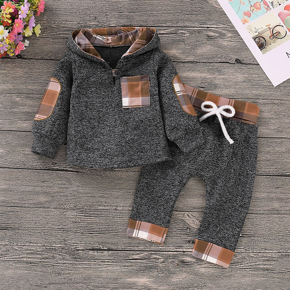 4f046aa397f Baby Casual Plaid Splice Hooded Long-sleeve Top and Pants Set for ...