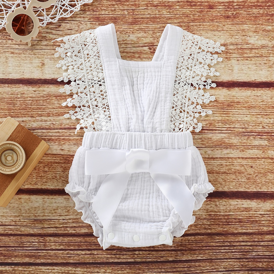 5c5380a14e Baby Baby/ Toddler Girl's Lace Decor Tie-up Bodysuit at PatPat.com