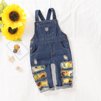Sunflower Print Denim Suspender Pants For Girls