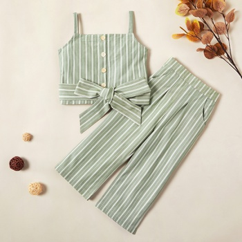 2-piece Trendy Striped Tank and Pants Set