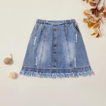 Trendy Denim Tasseled Skirt