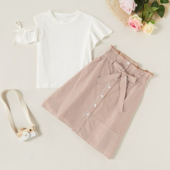 2-piece Sweet Solid Irregular Flare-sleeve Top and Striped Skirt Set