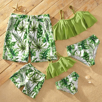 Fresh Tropical Plant Print Matching Swimsuits