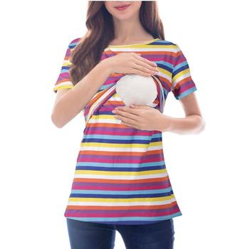 612cbae9850d7 Striped Short-sleeve Breastfeeding T-Shirt