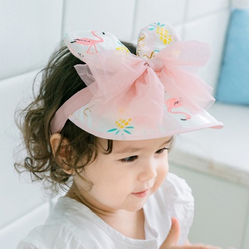 Adorable Flamingo Tulle Bowknot Decor Sunproof Cap for Girls