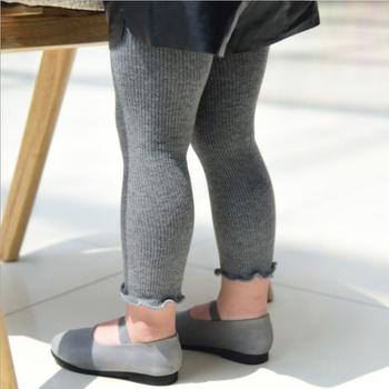 Baby / Toddler Girl Solid Knitted Ruffled Leggings