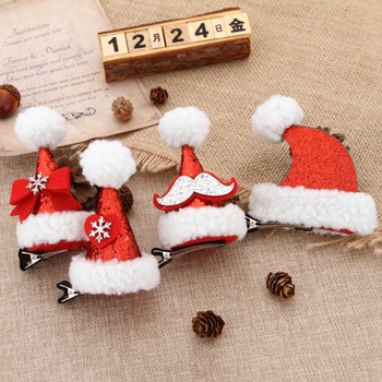 1-pack Christmas Fleece Hairpins for Children