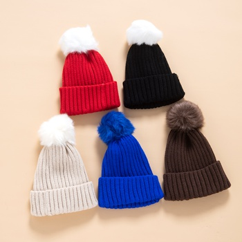 Toddler / Kid Solid Pompon Knitted Hat
