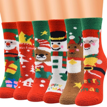 Winter High Quality Fleece Stockings Happy Cute Snowflake Gifts Santa Claus Christmas Socks