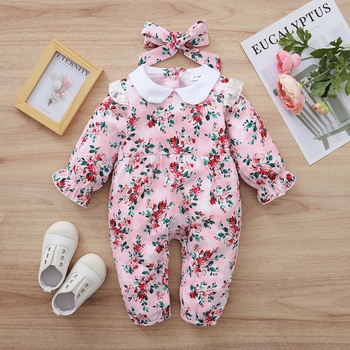 2-piece Baby Floral Ruffled Doll Collar Jumpsuit and Headband Set