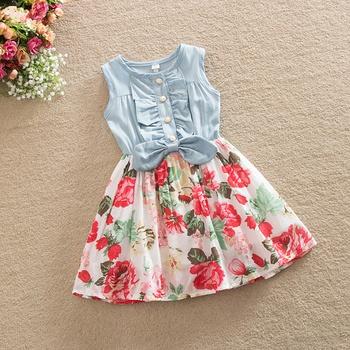 5c7ff910399 Beautiful Floral Bowknot Decor Sleeveless Dress