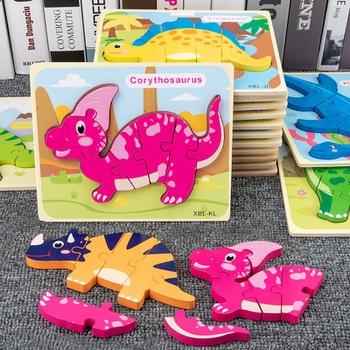3d Puzzle Cartoon Dinosaur Animal Intelligence Kids Educational Brain Teaser Children Learning Jigsaw