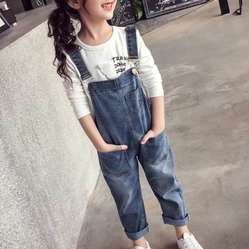 Trendy Denim Strappy Pocket Suspender Jeans Jumpsuit