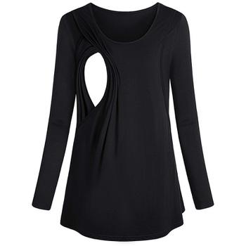 Stylish Solid Long-sleeve Maternity Nursing Top