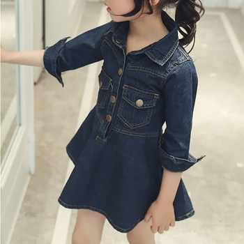 Sassy Solid Pocket Design Half-sleeve Denim Dress
