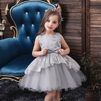 Baby / Toddler Girl Pretty Floral Embroidery Tulle Party Dress