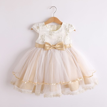 1pc Baby Girl Short-sleeve  elegant Floral Costumes & Formal Dresses & Tuxedos