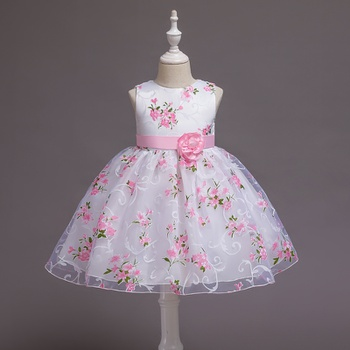 1pc Baby Girl Sleeveless cotton  casual Floral Costumes & Formal Dresses & Tuxedos