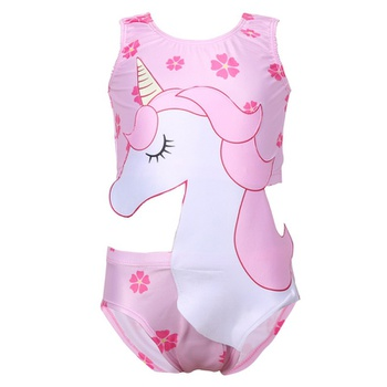 Stylish Unicorn And Floral Print Swimwear  For Girls