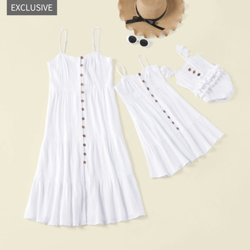 a430b7819 Mosaic 100% Cotton Crinkle Gauze Family Matching Flounced Tank Twirl Mommy  and Me Dresses Sisters Romper for Girl-Baby