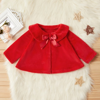 Baby / Toddler Pretty Fleece Bowknot Decor Coat