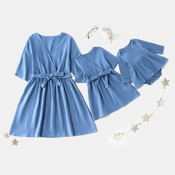 Mosaic 100% Cotton V-neck Solid Bowknot Mommy and Me Dresses