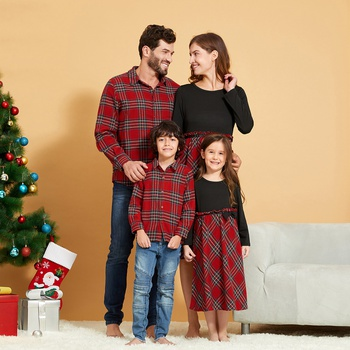 Mosaic  Christmas Series Family Matching Sets( Plaid Dresses -Plaid Button Front Shirts - Rompers)