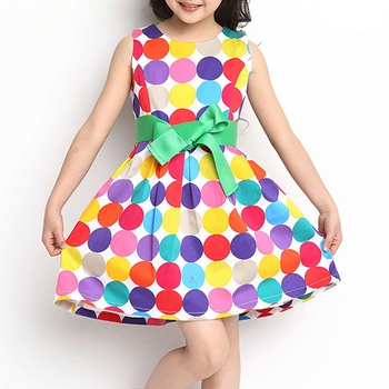 b9a936e33 Pretty Dotted Printed Sleeveless Dress for Kid