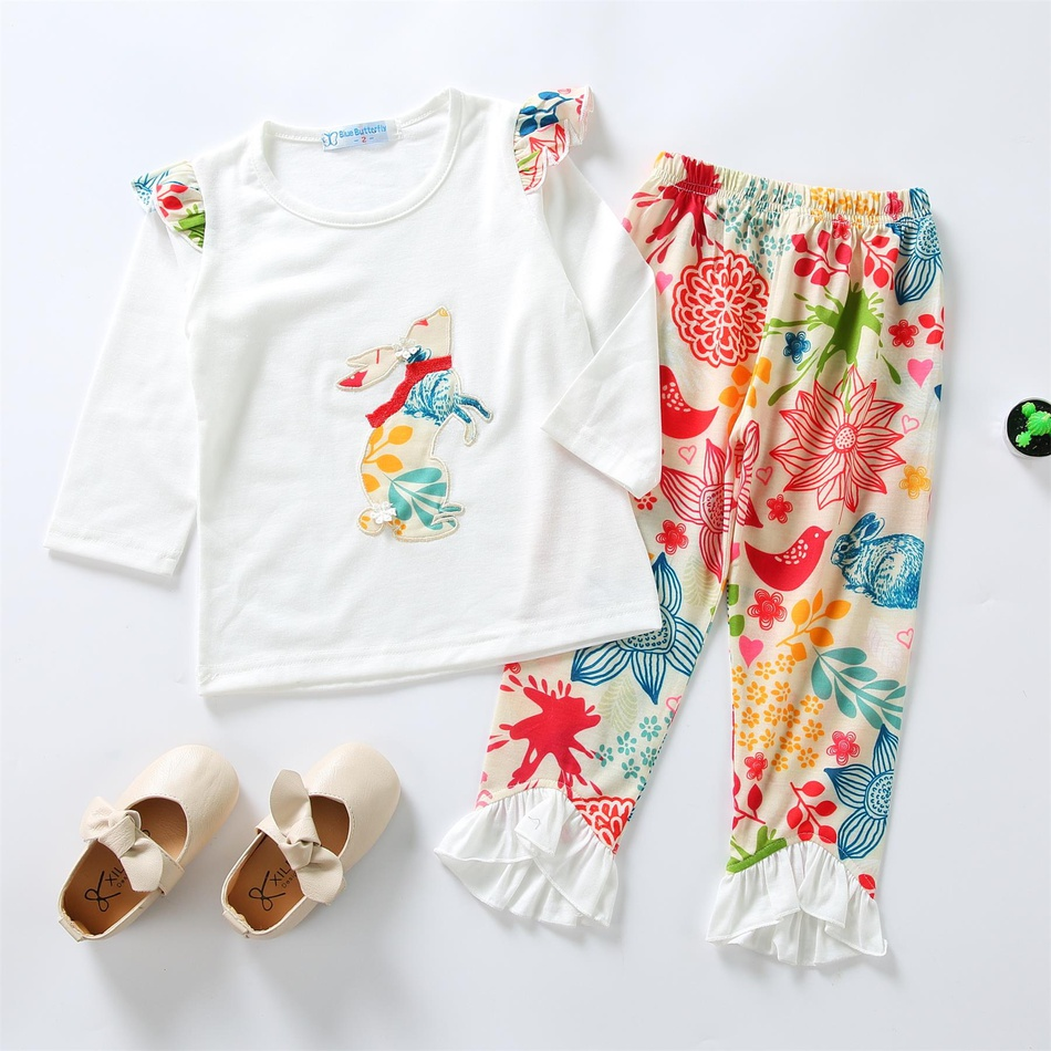 ccdb47be1686 2019 2-Piece Easter Bunny Flutter-sleeve Top Flower Print Bellbottom Pants  Baby Girls Sets