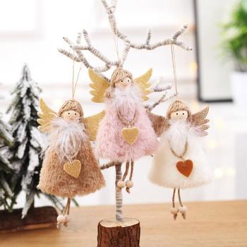 Christmas Tree Love Girl Feather Doll Pendant Decor