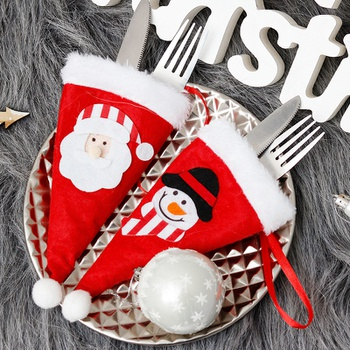 1-pc Christmas Caps Cutlery Holder Fork Spoon Pocket Bag Knife Decor Gift