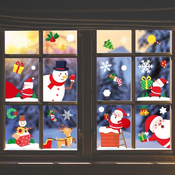 6-pcs Christmas Wall Window Stickers Decoration Ornaments Happy New Year Home Party