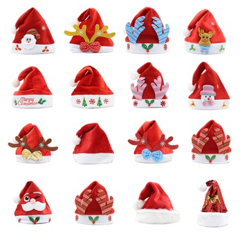 Soft Christmas Hat Party Kid Toddler Santa Hats Red Decoration New Year Decoration Party Gift