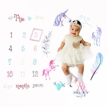 Unicorn Newborn Infant Photo Background Monthly Growth Cloth Cartoon Cute Baby Milestone Blanket