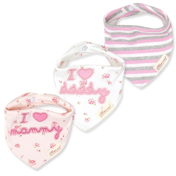3-pack Letter Striped Print Bibs Set for Baby