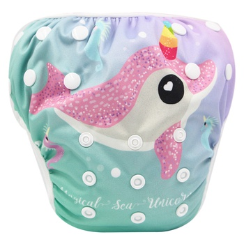 Reusable Adjustable Whale Print Baby Swim Diaper