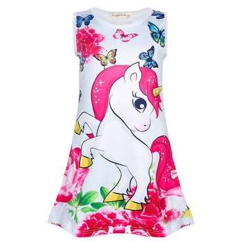 Fashionable Unicorn Floral Butterfly Print Allover Sleeveless Dress