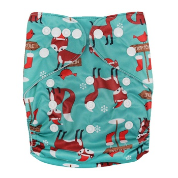 Reusable Washable Adjustable Fox Snowflake Print Cloth Diaper