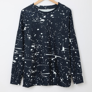 Round collar Hand painted full print long sleeve normal Pullover