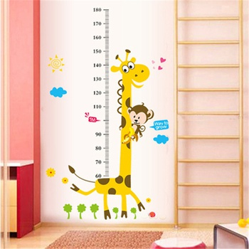 Giraffe and Monkey Height Chart Wall Sticker