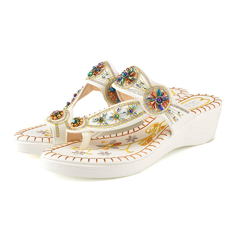 19349e6bf7a6 Home-Accessories Stylish Boho Beaded Wedge Slippers at PatPat.com
