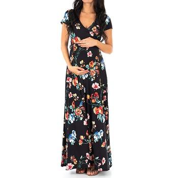Trendy Floral Print Short-sleeve Maternity Maxi Dress