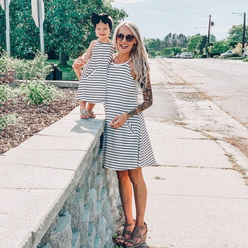 Stripe Matching Dresses for Mom and Girl (2 years to 9 years)