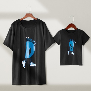 Anime Letter Print T-shirts for Daddy and Me